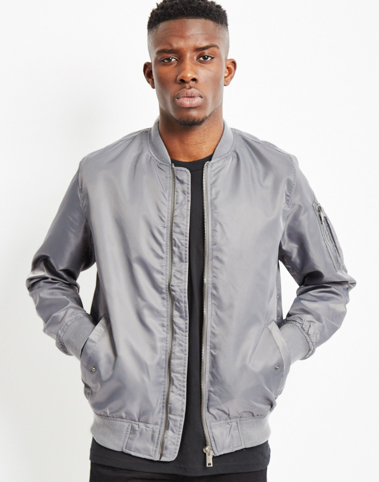 Lightweight Nylon MA-1 Bomber Jacket Grey | Shops, Bomber jackets ...