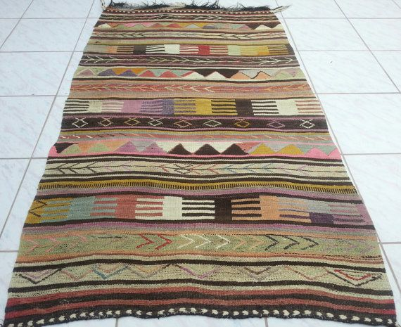 VINTAGE Handwoven Small Turkish Antique Wool Kilim by pillowsstore, $178.00
