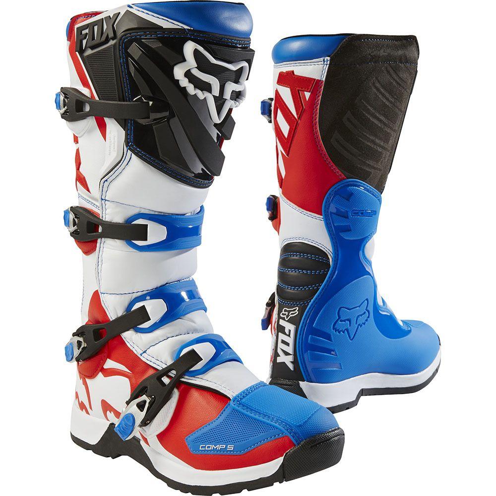 Fox 2017 Comp 5 Le Fiend Blue X2f Red Boots Dirt Bike Boots Boots Bike Gear