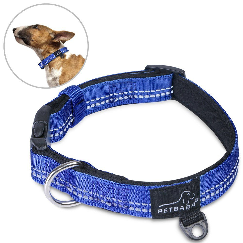 PETBABAB Soft Padded Dog Collar, Reflective Safety Night
