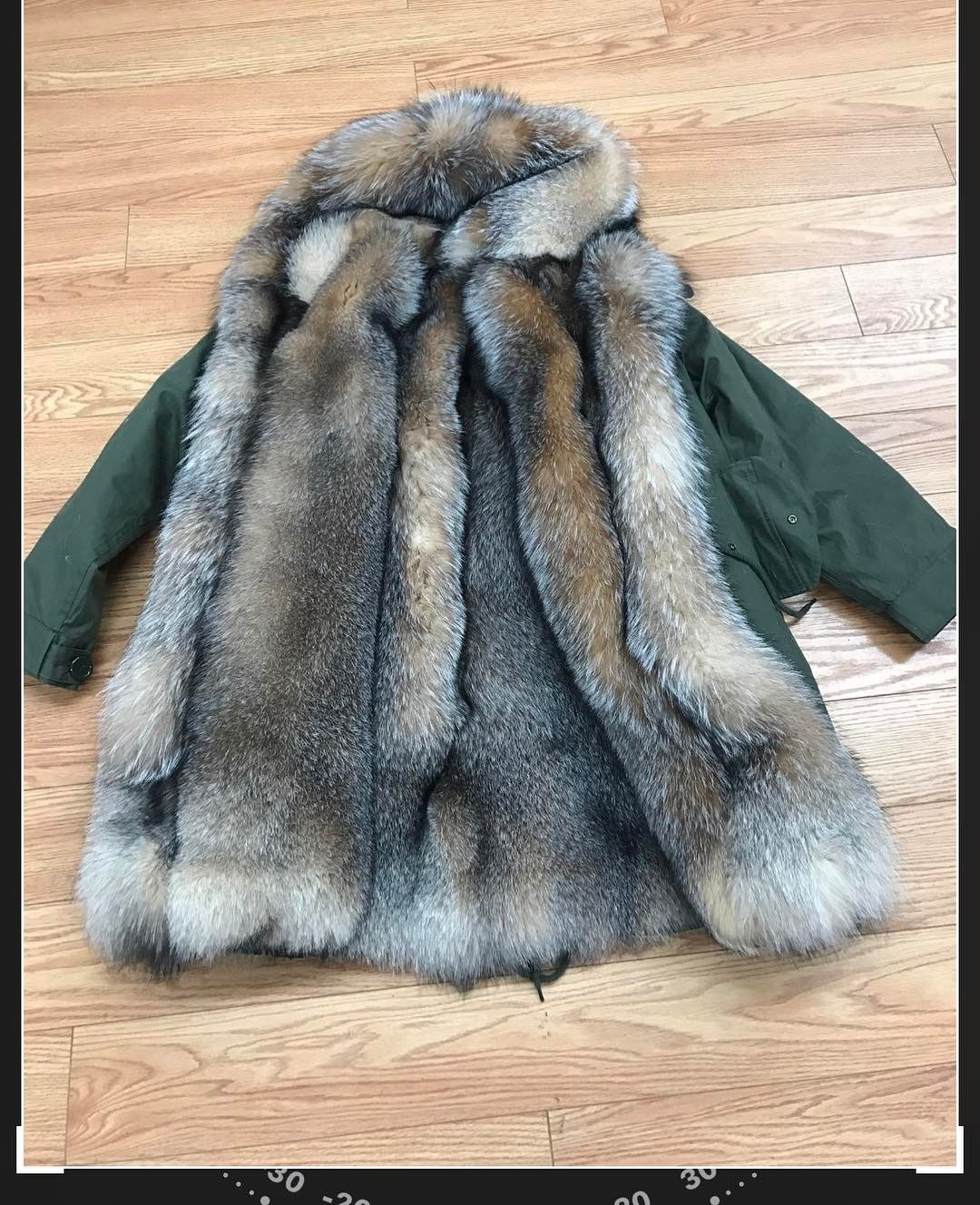 Green Parka With Crystal Fox . A Perfect Valentine's Day
