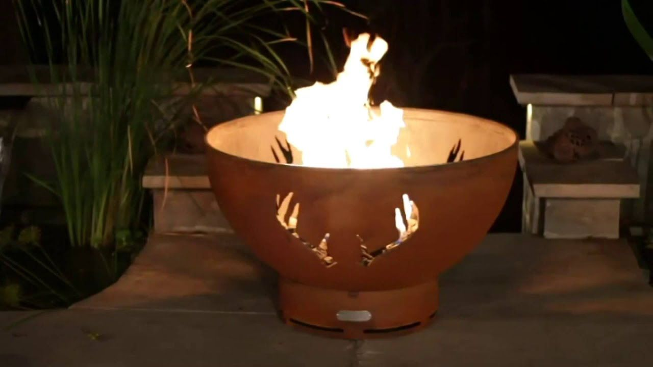 Stag Animaux hexagonale Fire Pit finition naturelle avec grill