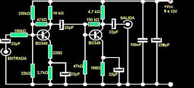 Amplificadores de audio: Preamplificador universal transistorizado