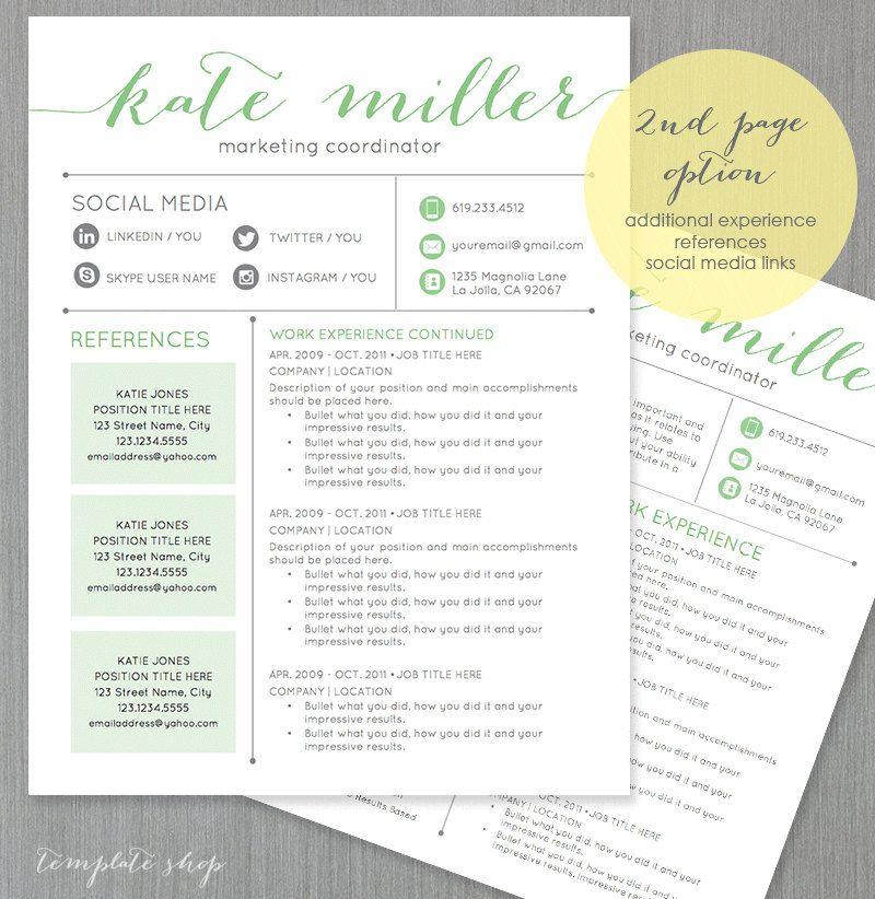 Resume Template CV Template for Word 4 Pack + social