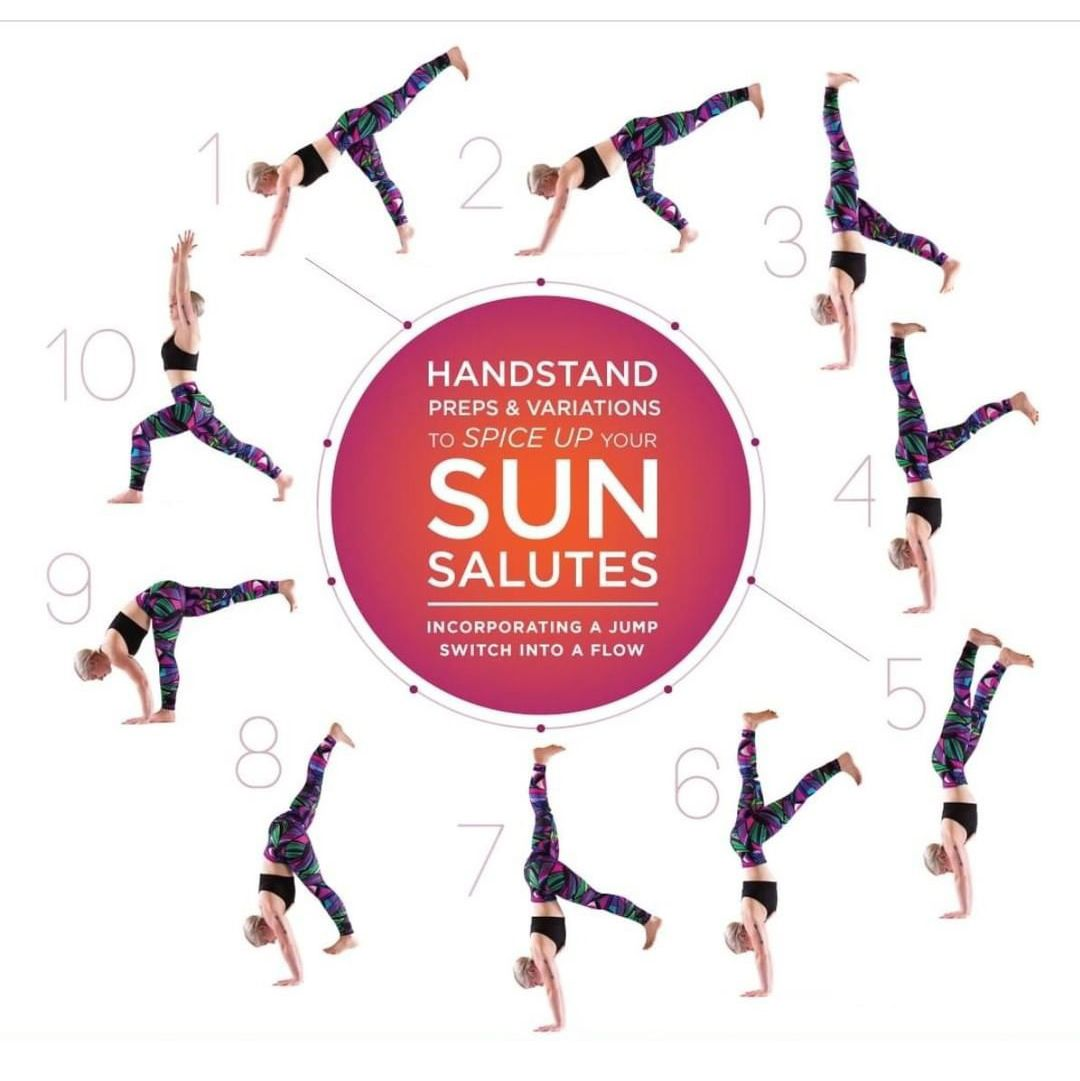 It's spring! Celebrate with some ‌🤸‍♀️handstand sun salutes‌☀️!! ⠀⁠ ⠀⁠ A jump switch can make for a lively, energizing transition from down dog to a standing pose such as warrior I. It's a great next step once you feel confident with jump switches.⠀⁠ ⠀⁠  . #handstand #sunsalutation #yogaflow #yogaforstrength #vinyasayoga