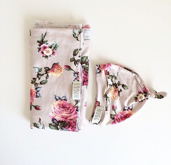 Baby Swaddle Blanket Floral Swaddle and Beanie by weelittlenuggs ... fd7338743711