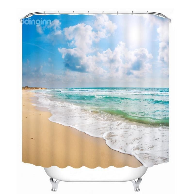 Beautiful Beach Scenery By The Sea Printing Bathroom 3d Shower