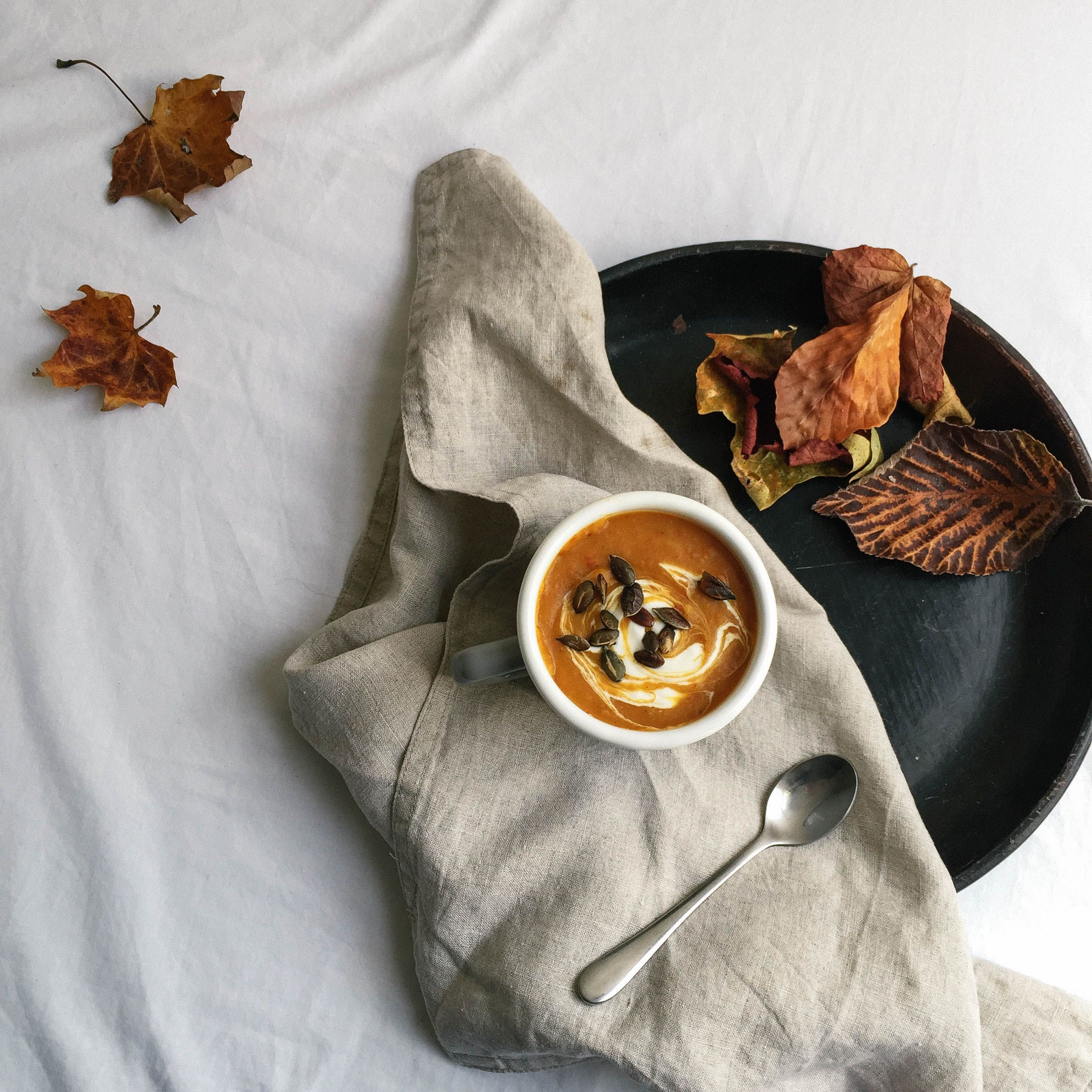 Pumpkin, Chilli & Sundried Tomato Soup On The Plate