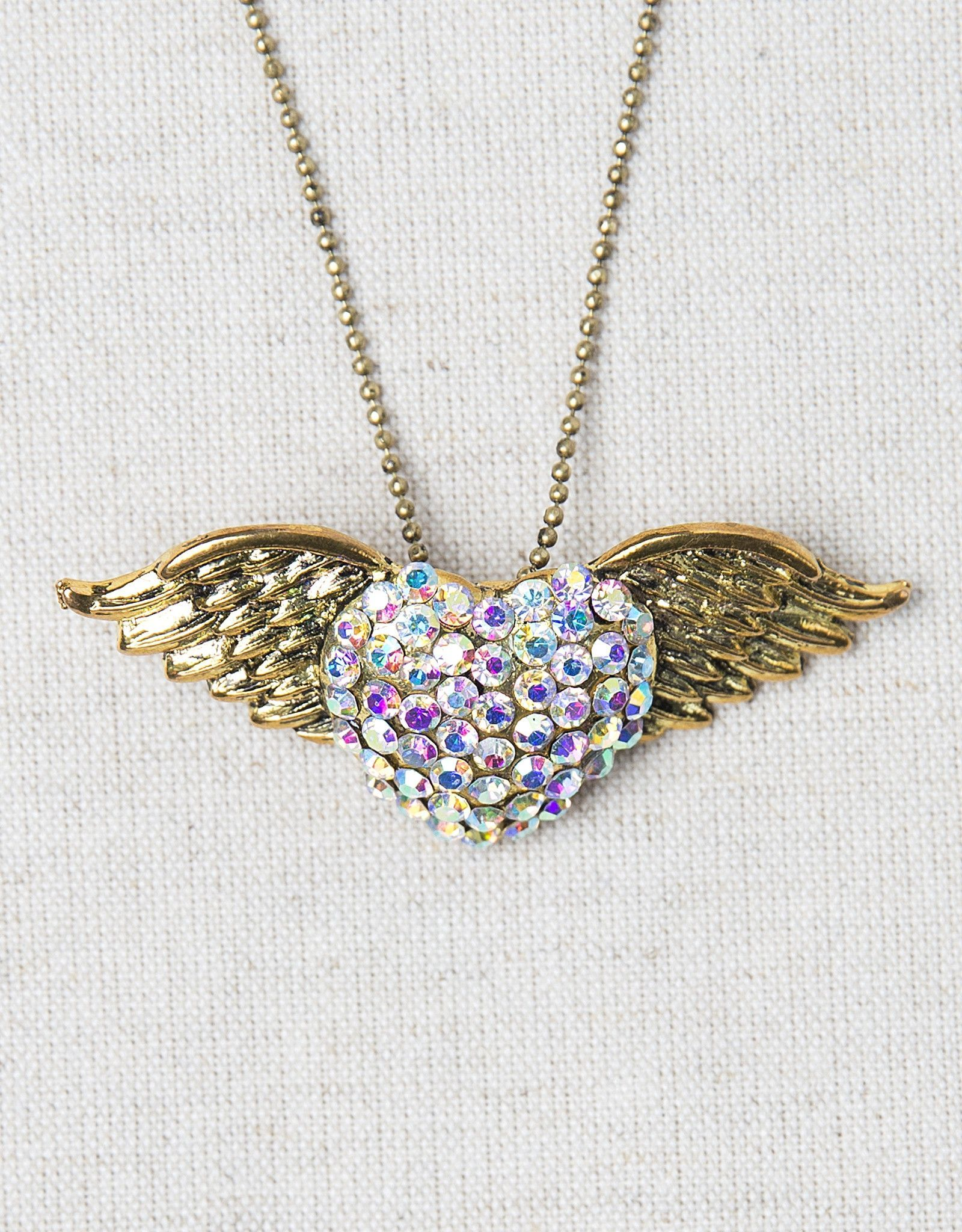 gold crystal winged heart necklace-brooch-bouquet pin