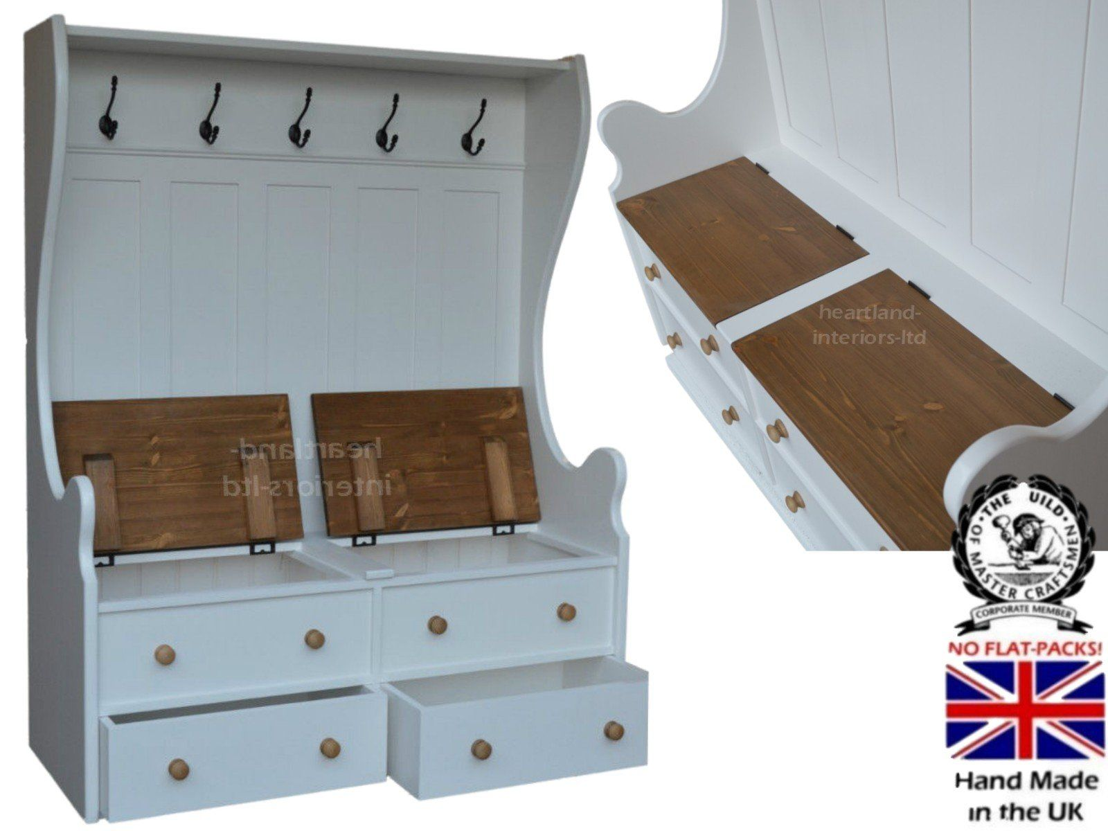 100% Solid Wood Storage Bench, 4ft X 5ft Handcrafted White Painted Monks  Bench,