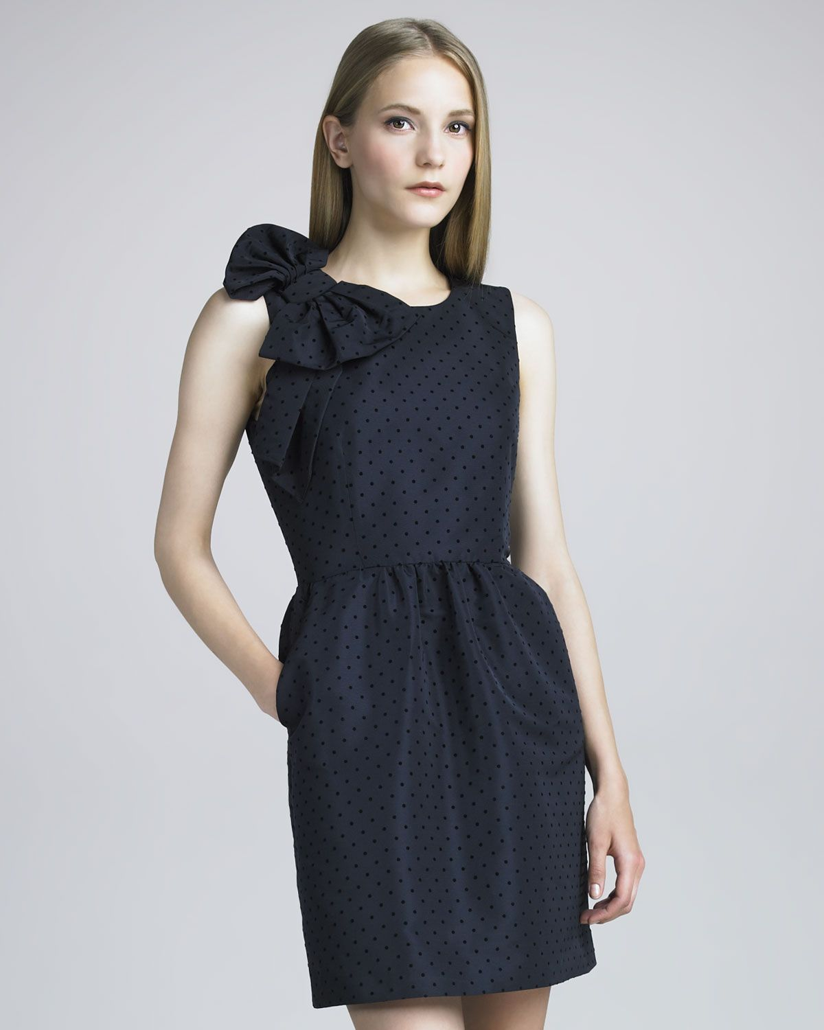 Red valentino bow shoulder dot print dress neiman marcus my red valentino bow shoulder dot print dress neiman marcus ombrellifo Image collections