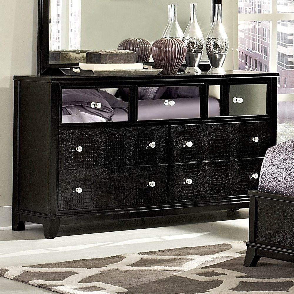 Black Mirror Dresser Dresser With Mirror Mirrored Furniture