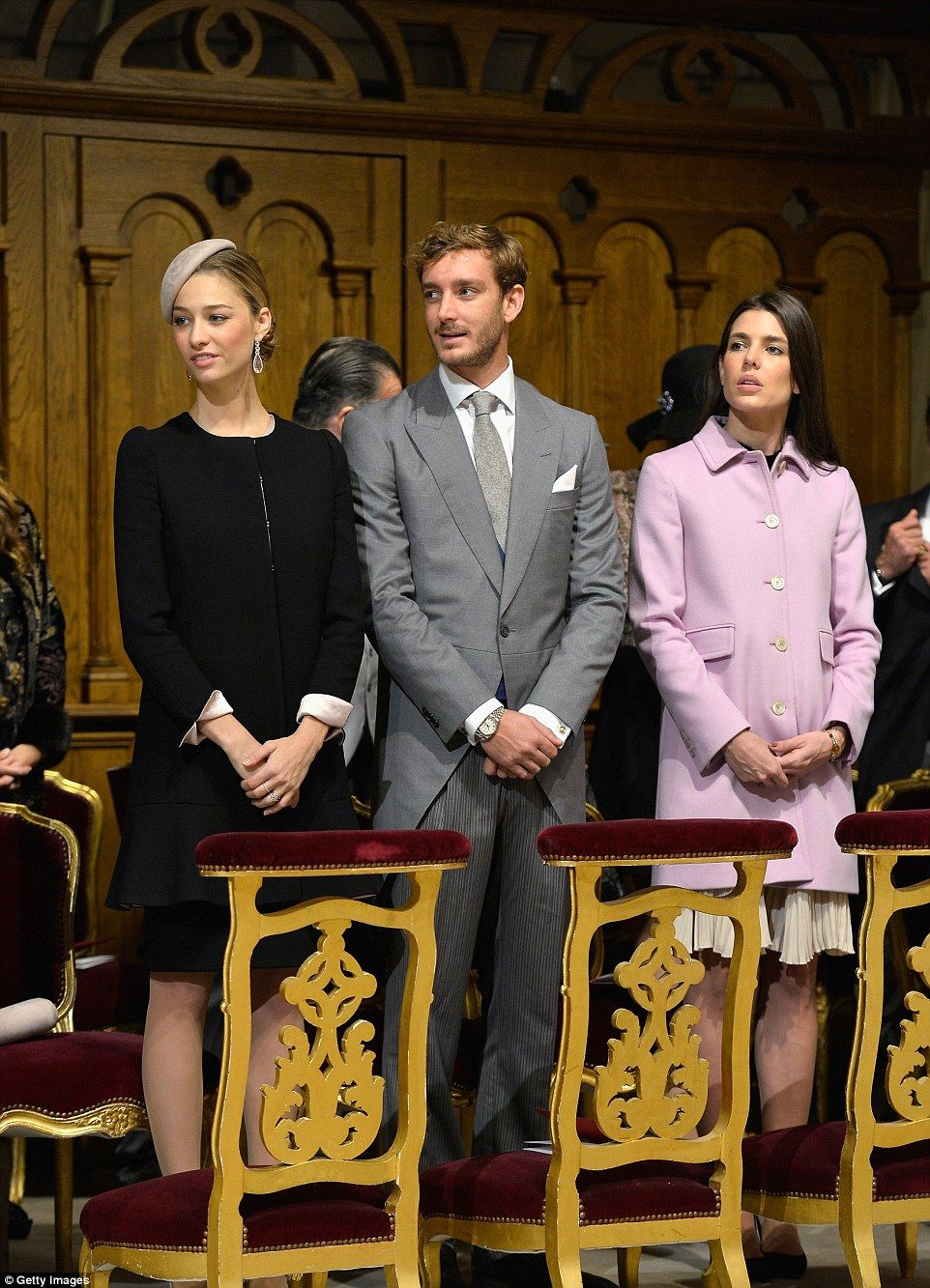 (L-R) Beatrice Borromeo,Pierre Casiraghi and Charlotte Casiraghi attend a mass at the Cathedral of Monaco together