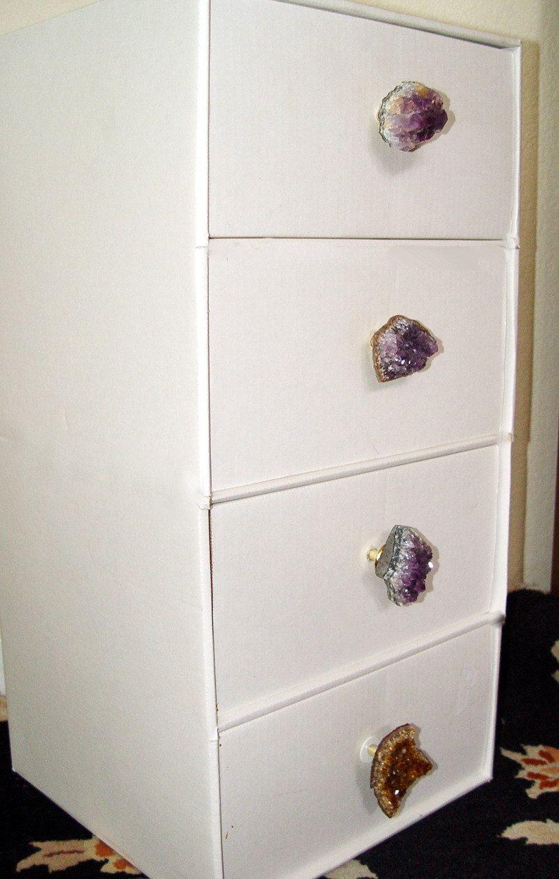 Custom Gem Quality Uruguay Amethyst Crystal Druzy Gemstone Drawer Pulls Knobs