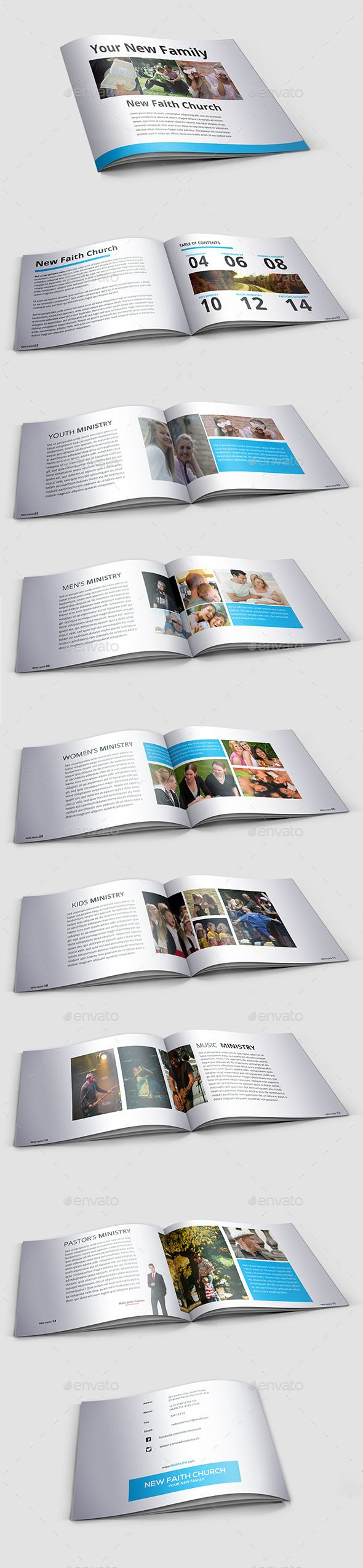 Modern Minimal Church Brochure — InDesign INDD #brochure #clean • Available here → https://graphicriver.net/item/modern-minimal-church-brochure/9576331?ref=pxcr