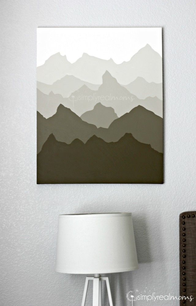 Simply Made Painted Mountains Wall Art Canvas Painting Diy Mountain Wall Art Art Gallery Wall