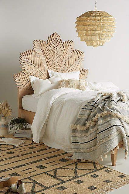 Anthropologie Carved Frond Bed Boho Bohemian Home Decor Bedroom