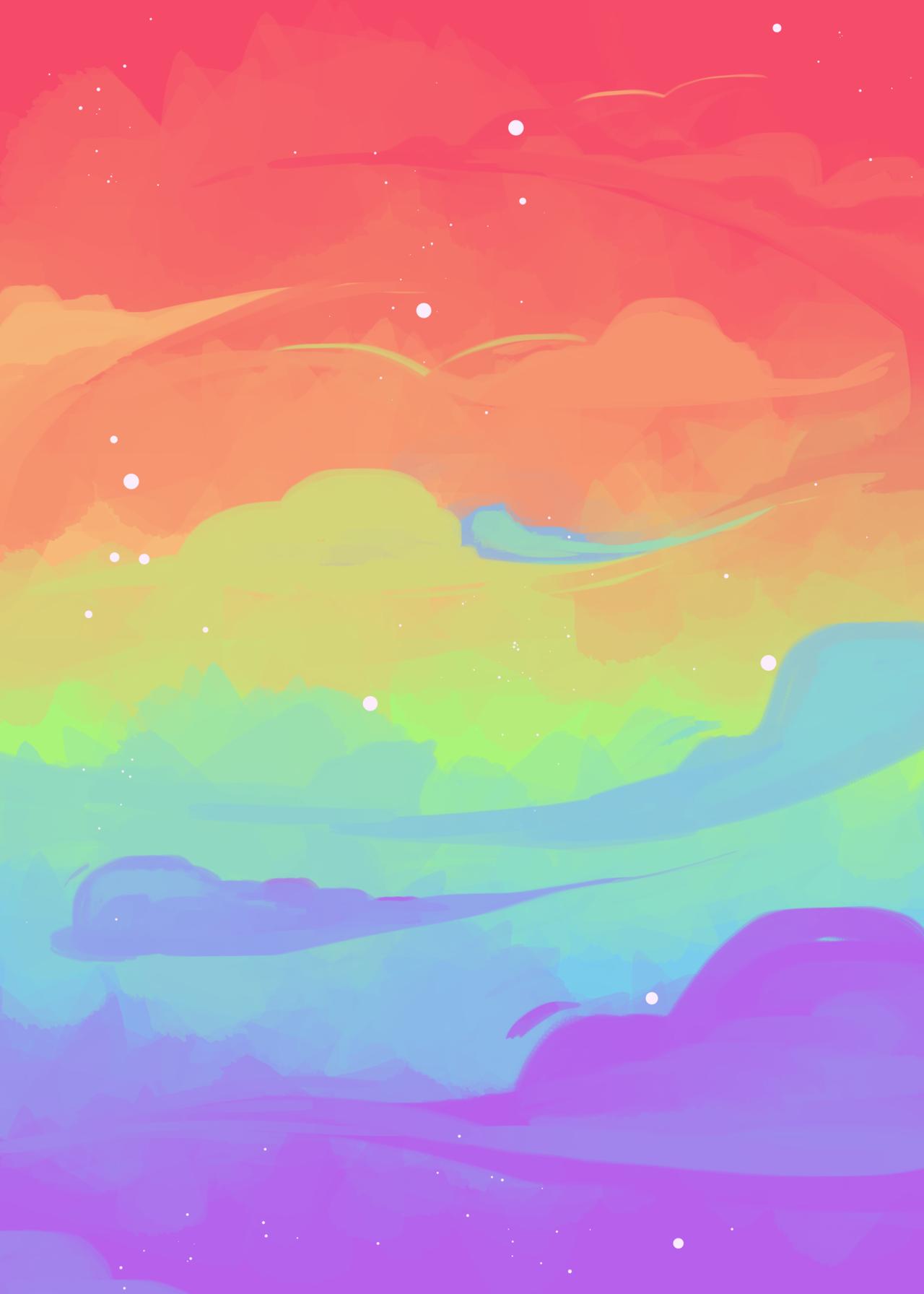 Rainbow Rain With Images Minimalist Desktop Wallpaper