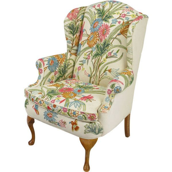 Colorful Floral Wool Crewel Upholstered Wing Chair Liked On