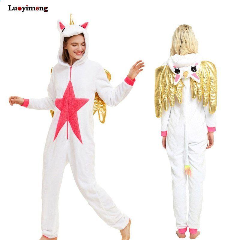 b00e5d8dccff Nowy Jednorożec Pijama Ze Skrzydłami Zima Unisex Dorosłych Piżama Cosplay  Costume Zwierząt Onesie Kobiety Mężczyźni Piżamy