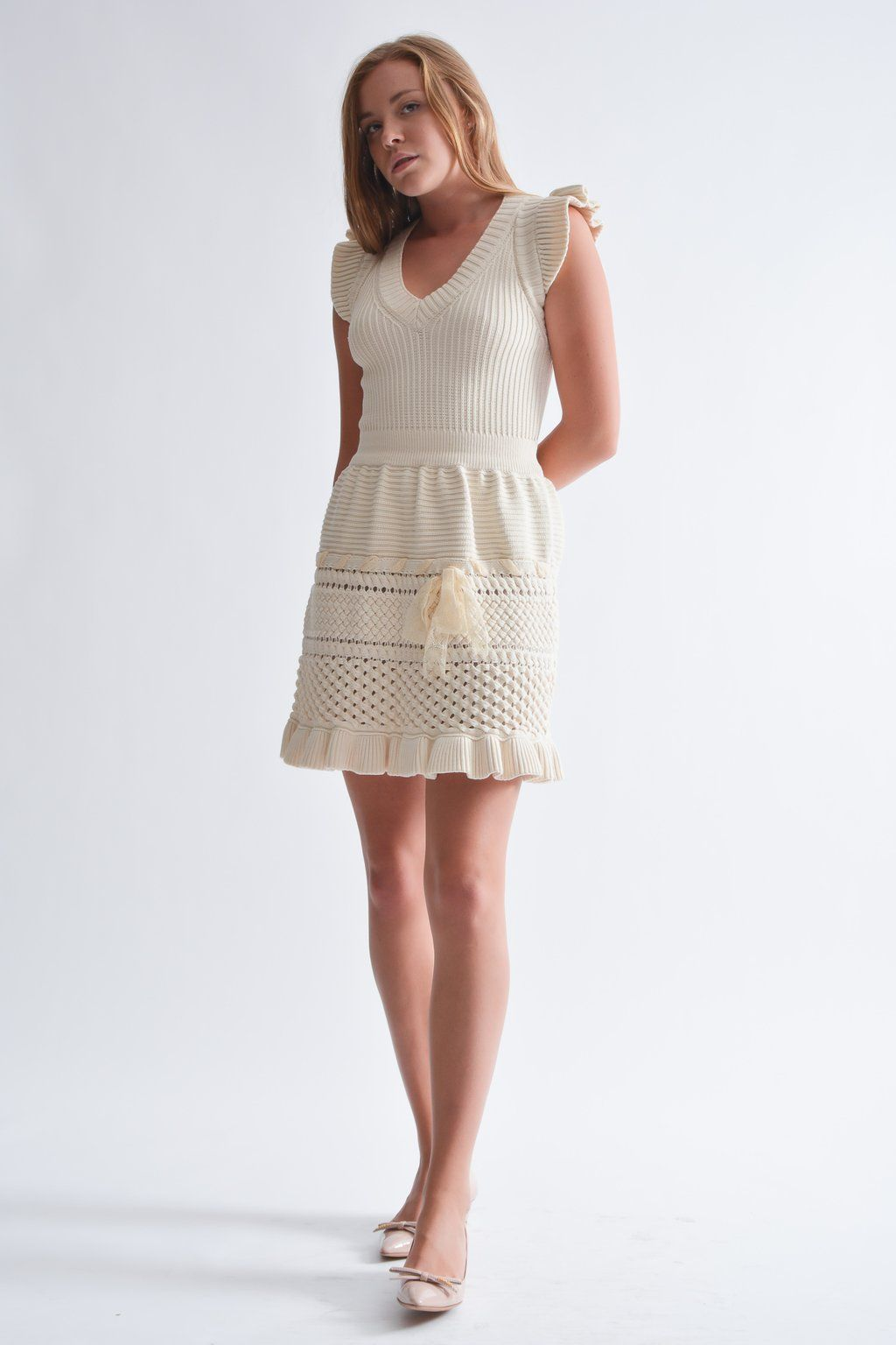 249cb3a2ecb Red Valentino Cream Knit Dress  MineAndYours