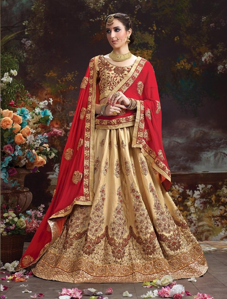 0d2e07cd69063d Gold Colour Silk Butter Crepe With Heavy Embroidery Wedding Lehenga Choli