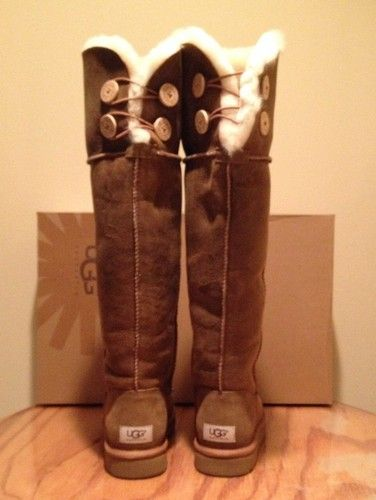 e67c3ca89ec Details about UGG Bailey Button Bomber Over The Knee Chestnut Women ...