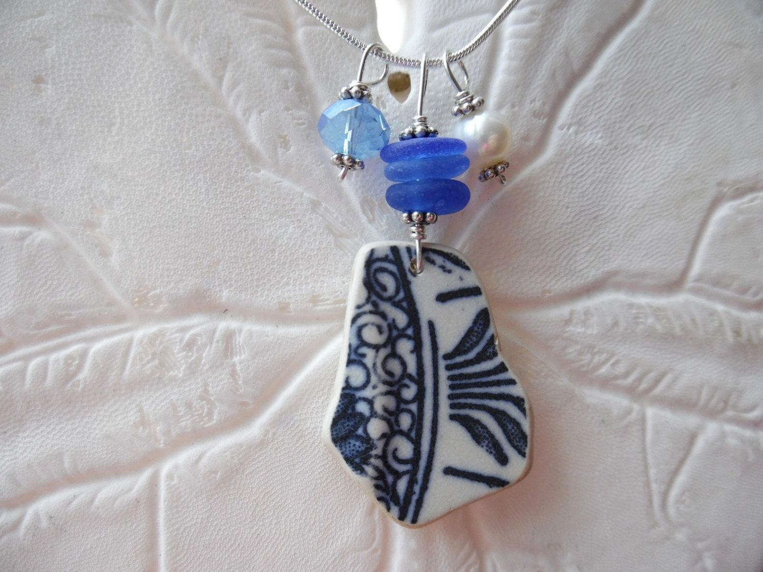 Sea Glass Necklace - Blue Beach Glass Jewelry Sea Pottery Vintage ...
