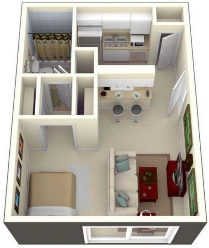 1 Dormitorio 3D House Floorplans in 2018 Pinterest Apartment