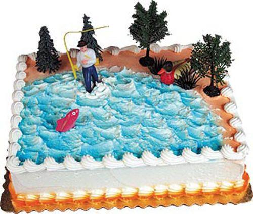 Fly fishing cake decorating kit fisherman topper lake for Fishing cake decorations