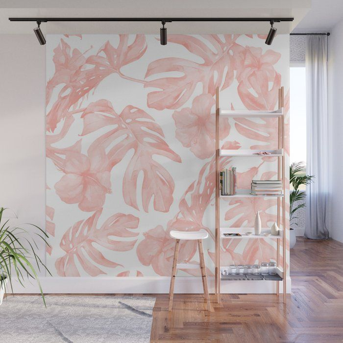 Accent Wall Touch Of Tropical: Buy Tropical Palm Leaves Hibiscus Flowers Coral Pink Wall