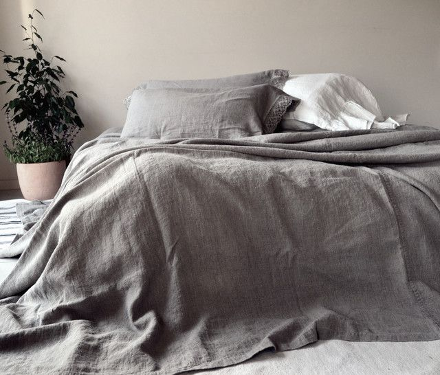 100% Stonewashed Linen Coverlet  Charvet Editions  Queen King