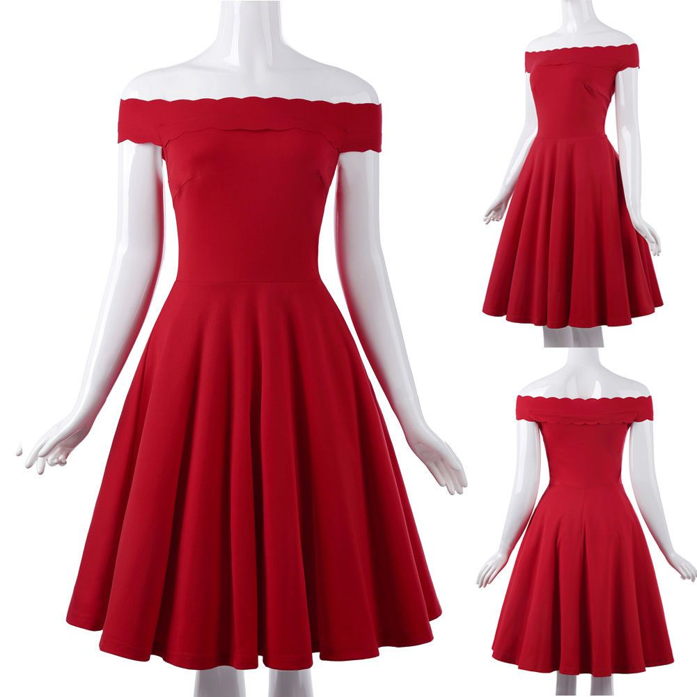 Women summer romantic party cocktail prom off shoulder aline red
