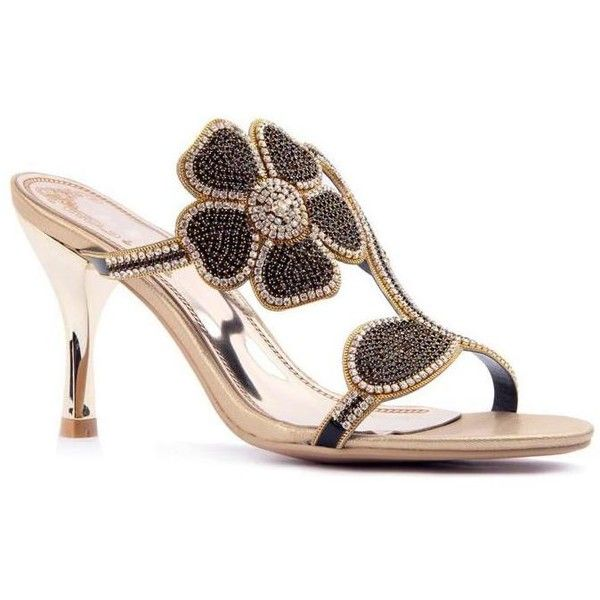 Black Flower Rhinestone Leather Sandals ❤ liked on Polyvore