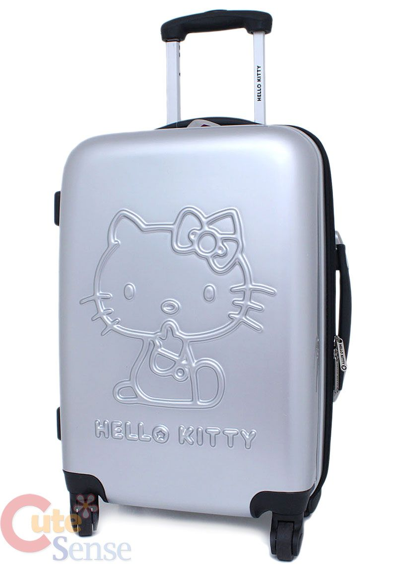 78ff6749a40 Sanrio Hello Kitty Emblems Trolley Bag, Hard Suit Case , Luggage -Metal  Silver 20