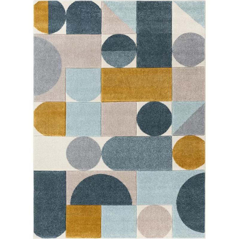 Ruby Dede Mid Century Modern Geometric Teal Blue Gray Gold Area