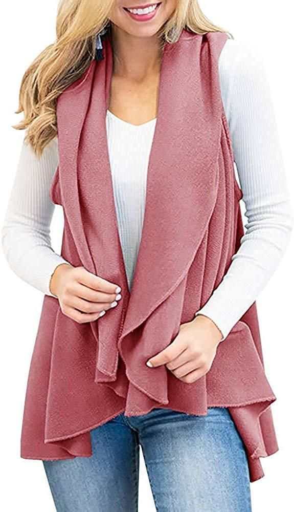 Omens Sweater Vest Plus Size Cable Knit Open Front Draped Cardigan Lapel Shawl Coats Outwear
