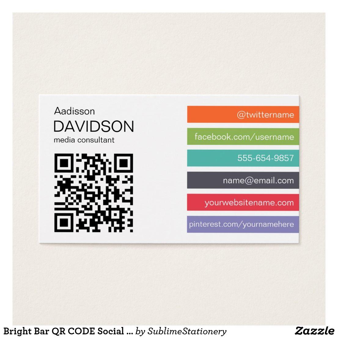 Bright Bar Qr Code Social Media Business Card Razzle Dazzle Zazzle