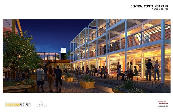 A retail, office, and entertainment complex planned for Downtown Las Vegas that is going to be made mostly of recycled shipping containers.