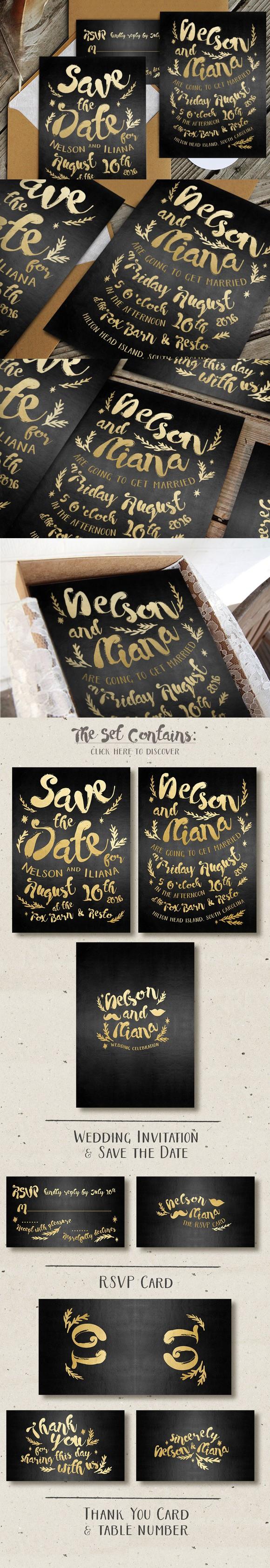 Black & Gold Hipster Wedding Suite | Hipster invitations, Hipster wedding,  Wedding fonts