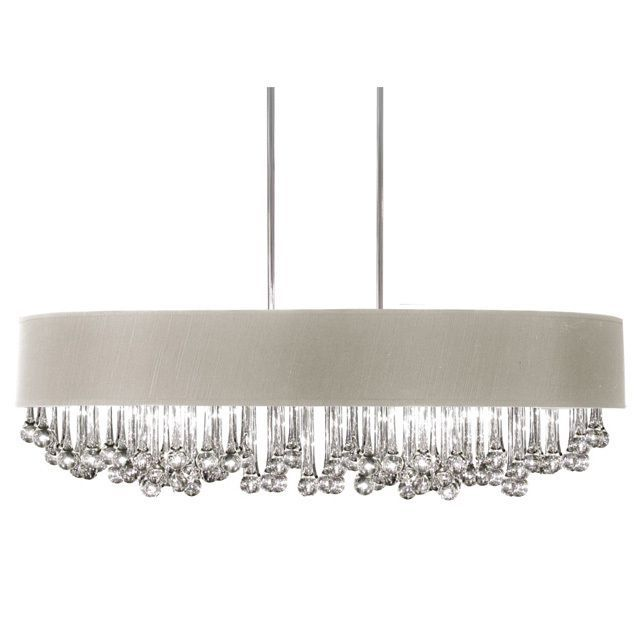 Dainolite 8 light horizontal polished chrome chandelier with glass droplets in pebble shade by dainolite