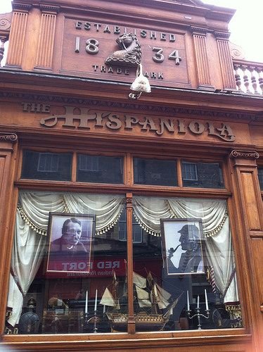 """Edinburgh Pubs by 2edinburgh, via Flickr - the frontage of """"The Hispaniola"""" once known as Rutherford's Bar, where Robert Louis Stevenson used to drink.  No longer a pub, inside it is the extension of a nearby Italian Restaurant."""