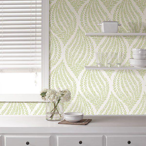 Fern Lime Green Peel And Stick Wallpaper Peel And Stick Wallpaper Brewster Wallcovering Nuwallpaper