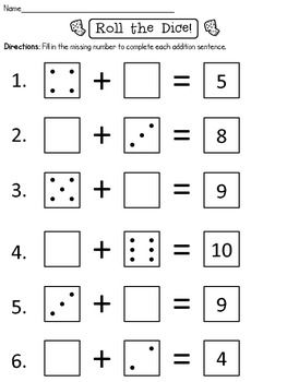 Missing Addend Worksheets For Kindergarten - Worksheets