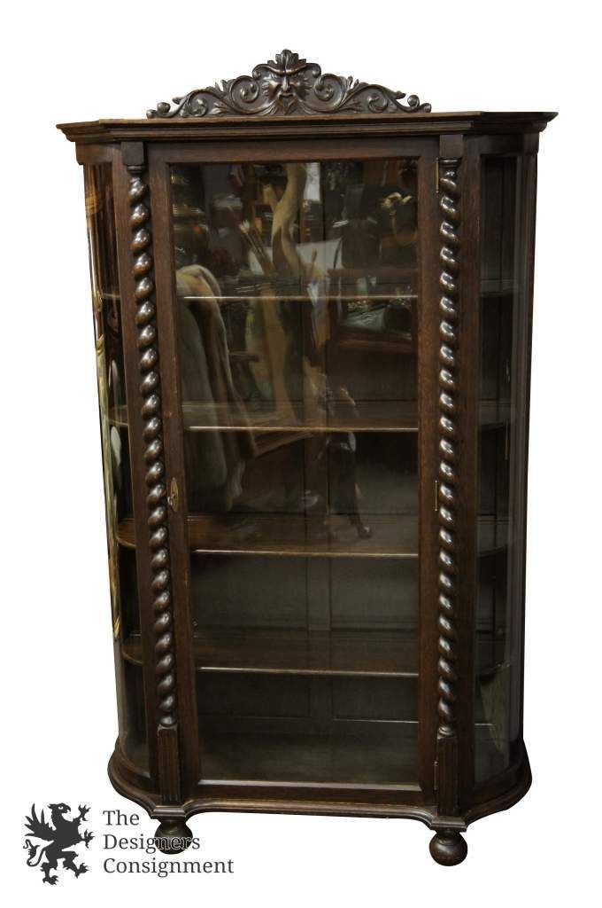 Antique Empire Style Oak Carved Bow Front Barley Twist Curio Cabinet  Display | The Designers Consignment - Antique Empire Style Oak Carved Bow Front Barley Twist Curio Cabinet