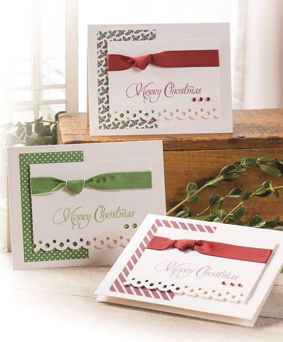 Merry Christmas - simple, dsp, border punch, ribbon