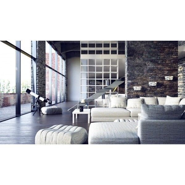 Two beautiful urban lofts visualized ❤ liked on polyvore featuring backgrounds rooms interior