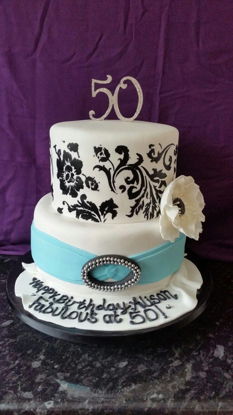 50th Birthday Cake 2 Tier Black Stenciling Large Fondant Flower