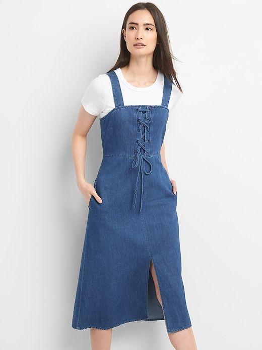 6ff76771dca8 Gap Womens Lace-Up Denim Tank Midi Dress Medium Wash   Products in 2018