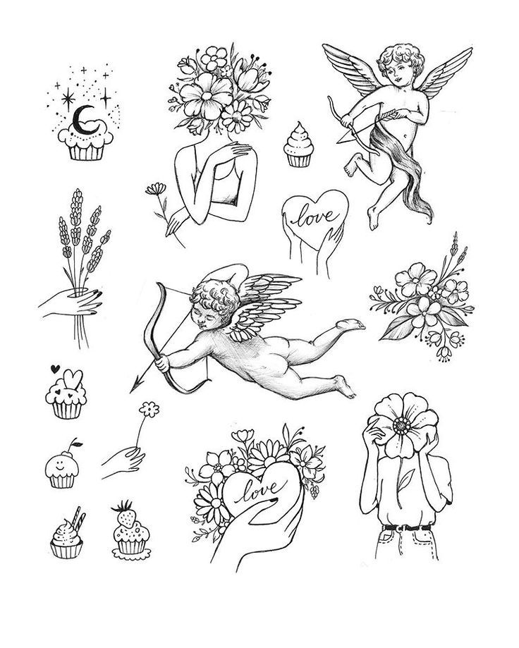 #tattoosketch #tattoodrawing #tattooflash #flowerstattoo #cupidtattoo #lovetattoo #naturetattoo #muffintattoo #minitattoo #simpletattoo #tinytattoo #polishtattoo #polandtattoos #poznantattoo | Artist: @honey_im_home_tattoo